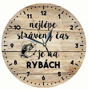 Bg drevené hodiny s potlačou pre rybárov