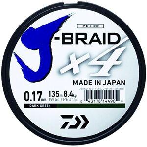 Daiwa splietaná šnúra j-braid 4 tmavo zelená 135m-priemer  0.25 mm / nosnosť 14,4 kg